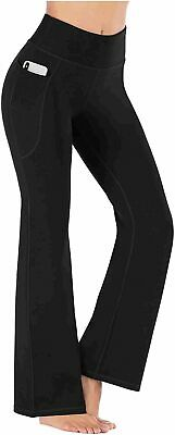 Bootcut Yoga Pants For Women With Pockets High Waisted, Black, Size C1OC - $13.99
