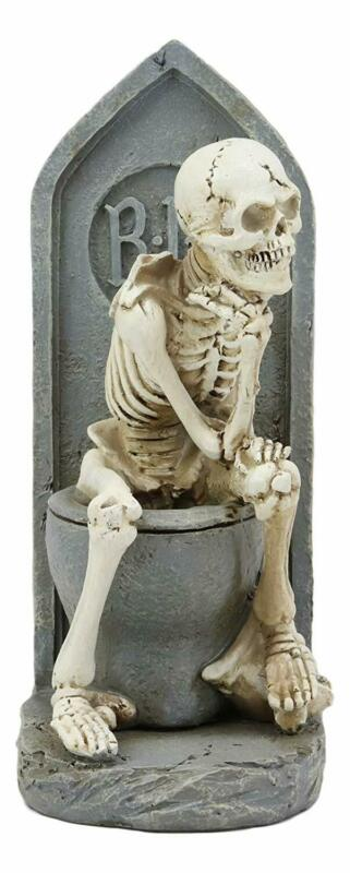 Rest In Peace Constipated Thinker Skeleton Sitting On Graveyard Toilet Statue