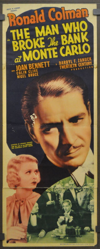 MAN WHO BROKE THE BANK AT MONTE CARLO 1935 ORIG 14X36 MOVIE POSTER RONALD COLMAN