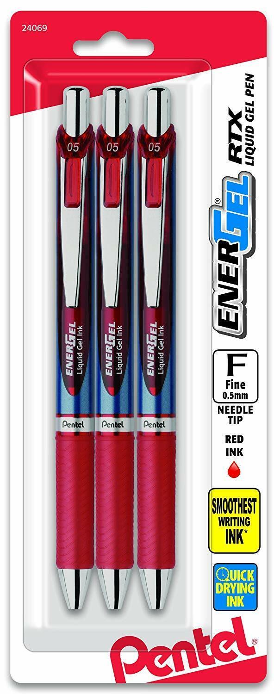 3 Pack Pentel EnerGel Deluxe RTX Retractable Liquid Gel Pen, Red Ink, 0.5mm NEW Business & Industrial