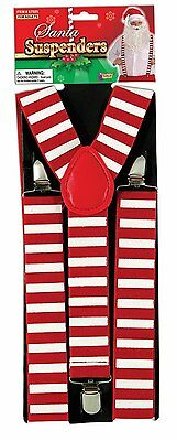 Santa Claus Elf (Santa Claus Elf Red White Suspenders Christmas Adult Costume)