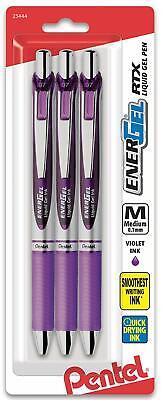 3 Pack Pentel Energel Rtx Retractable Gel 0.7mm Metal Tip Violet Ink New