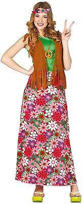 Damen Blumen Hippy 60's Jahre Kostüm Kleid Outfit Fest sechziger UK 12-20