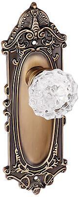 Nostalgic Warehouse Crystal Glass Single Dummy Door Knob with Victorian Plate