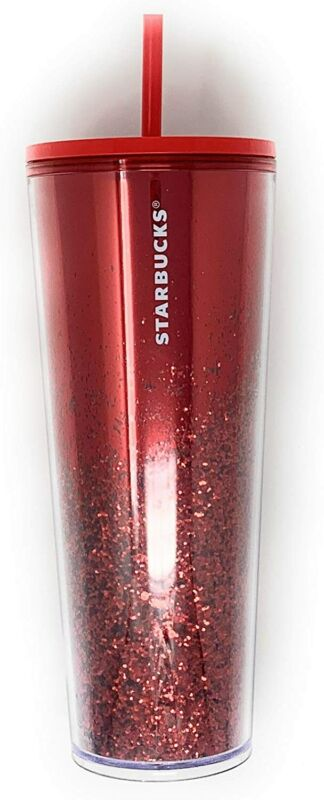 Starbucks 2019 Holiday Season Mirror Glitter Red Cold Cup 24 oz