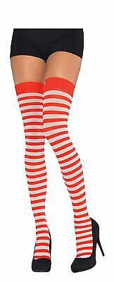 amscan Red and White Stripes Thigh High Tights, One size - Red And White Tights