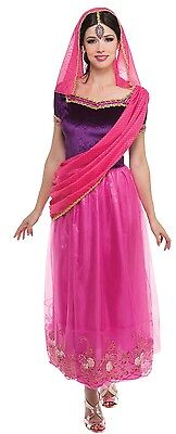Ladies Pink Indian Princess Bollywood Fancy Dress Costume Outfit (Bollywood Fancy Dress Outfits)