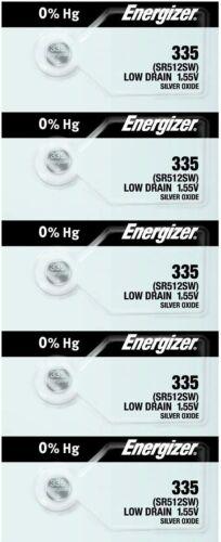 Energizer 335 SR512SW Low Drain Silver Oxide Watch Battery 5 Pack