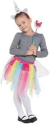 Mädchen Heller Regenbogen Einhorn Tutu Zauberstab Hupe Kostüm Kleid - Regenbogen Hell Kostüm