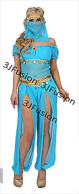 Fancy Dress Arabian Nights (Blue Princess Jasmine Genie Belly Dancer Arabian Nights Fancy Dress FREE Post)