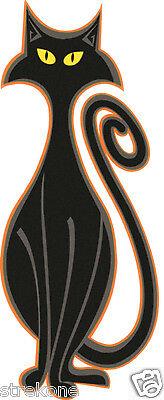 BLACK MAGIC Spooky Halloween Kitty CAT Art Window Cling Sticker Decal -FREE Ship (Window Magic Halloween)