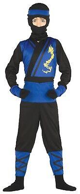 Jungen blau japanisch Ninja Krieger Kämpfer Assassin Maskenkostüm 3-9 (Japanischen Ninja Krieger Kostüm)
