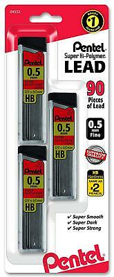 Pentel Super Hi Polymer Lead Refills 0.5 Mm 90 Pieces C25bphb3-k6 Free Shipping