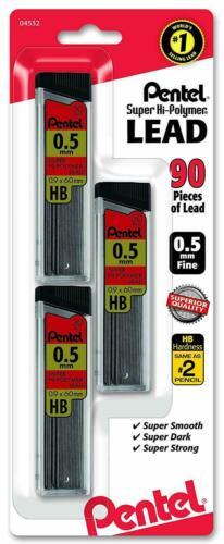 Pentel Super Hi Polymer Lead Refills 0.5 mm 90 Pieces Free Shipping