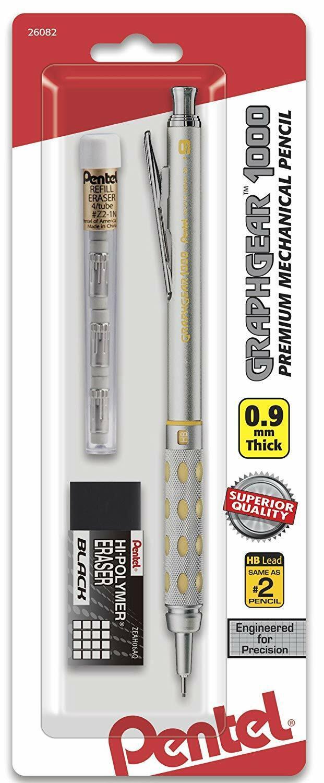 Pentel GraphGear 1000 Mechanical Pencil Chrome & Yellow 0.9mm NEW Business & Industrial