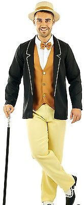 Mens 1920s Gatsby Gentleman Historical Charm Fancy Dress Costume Outfit M L XL - Gatsby Men Costume