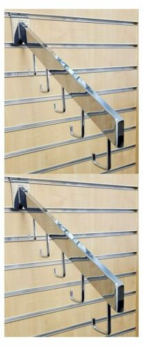 5 Hook Chrome Rectangular Tube 17-Inch Long Slatwall Waterfall Display Set of 2