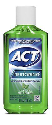 2 Pack ACT Restoring Anticavity Fluoride Mouthwash Mint Burst No Alcohol 3 Oz -