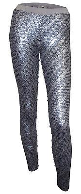 Pailletten Leggings Heine Gr. 36 silber grau schwarz Party Stretchhose