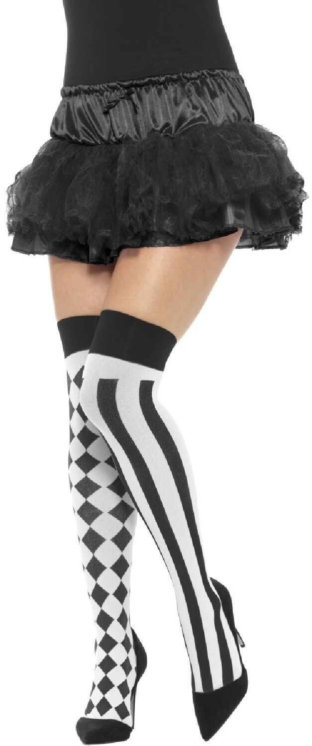 6aab2ca7c7c90 Details about Ladies Black White Harlequin Jester Carnival Fancy Dress Hold  Ups Stockings