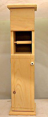 (Narrow Solid Wood Toilet Tissue Paper Holder Slim Bathroom Stand Cabinet Storage)