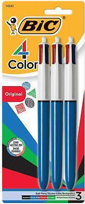 Bic 4-color Retractable Ballpoint Pen 3 Pk 4 Ink Colors Blue Green Black Red