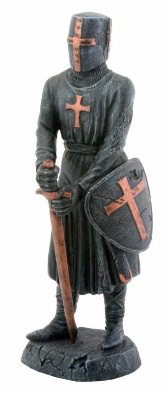 Templar Knight with Sword and Shield Statuette Figurine Medieval Decoration New