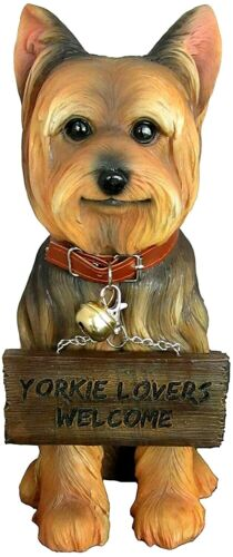 "12"" Faithful Yorkie Dog Statue With Double Sided Sign"