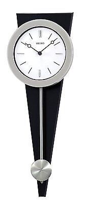 Seiko Pendulum Wall Clock Silver-Tone Case On Black Solid Wood Base