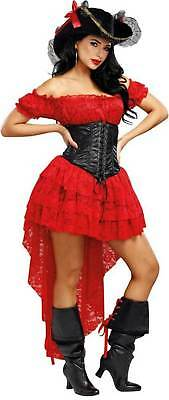 Dreamgirl Pirate Wench Beauty Red Lace Dress Black Corset Women's Costume SM-XL - Dream Girl Pirate Costume