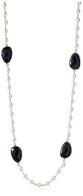 Daniela Swaebe 18K Gold-Plated Blue Goldstone & Glass Pearl Station Necklace NWT