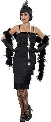 Damen Länger Schwarz 1920er Jahre Flapper Schicke Verkleidung Kostüm Outfit UK (1920er Jahren Flapper Kostüme Uk)