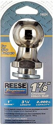 "Reese Towpower 74024 Step Bumper Chrome 1 7/8"" Hitch Ball (Truck ATV Tractor)"