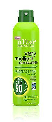 Alba Botanica Very Emollient Fragrance Free Spray Sunscreen SPF 50 6oz