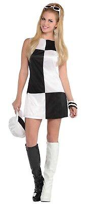 Damen Schwarz Weiß Mod 60er Jahre Mods & Rockers - 60er Mode Kostüm