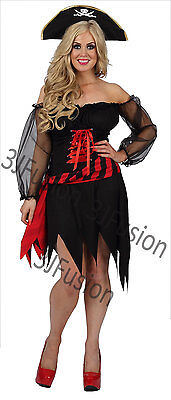 Ladies Womens Marauder Pirate Captain Wench Fancy Dress Costume FREE POST (BA)