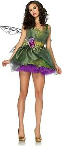 womens-sexy-tinkerbell-green-fairy-pixie-dress-costume-wings-uk-size-M-10-12