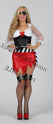 Caribbean Fancy Dress Outfits (Caribbean Pirate Ladies Fancy Dress Captain Buccaneer Womens Costume Outfit)