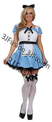 Alice In Wonderland Character Costume (Ladies ALICE IN WONDERLAND Fairytale Character Fancy Dress Costume Outfit)