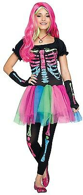 Older Girls Kids Rainbow Skeleton Halloween Fancy Dress Costume Outfit - Older Girls Halloween Costumes