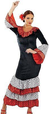 Ladies Sexy Black Flamenco Dancer Spanish Fancy Dress Costume Outfit UK 8-22