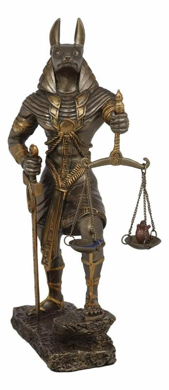 """God Anubis with Scales of Justice Statue Figurine 10"""" Tall (Faux Bronze Resin)"""