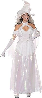 Ladies Sexy White Wiccan Good Witch Halloween Horror Fancy Dress Costume  - Good Angel Costumes