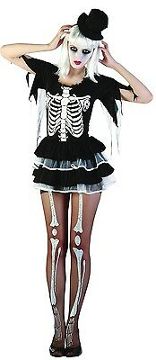 Damen Sexy Skelett Knochen Halloween Kostüm Kleid Outfit UK 10-12-14 (Sexy Skelett Outfits)