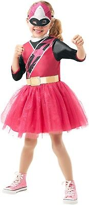 Mädchen rosa Power Rangers Ninja Stahl Halloween Party Kostüm Kleid (Rosa Ninja Kostüme)