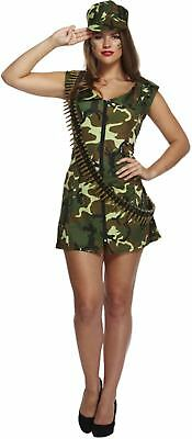 Female Army Fancy Dress (Adult Female Sexy Army Girl Fancy Dress Dressing Up Outfit Costume Hen Do NEW)