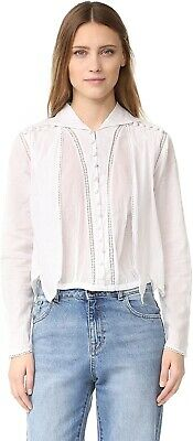 Intropia 180506 Womens Long Sleeve Eyelet Button Down Blouse White Size 36