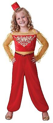 Girls Red Arabian Nights Aladdin Jasmine Belly Dancer Fancy Dress Costume Outfit - Jasmine Aladdin Red Outfit