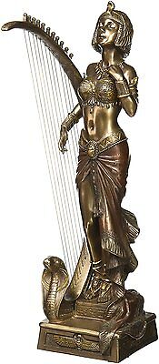 Art Deco Cleopatra with Egyptian Harp Statue Sculpture -