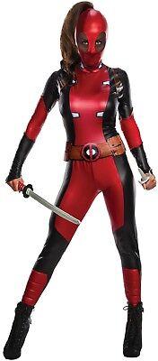 Film Deadpool Kostüm (Damen Offiziell Sexy Deadpool Superheld Marvel Film Kostüm Kleid Outfit)